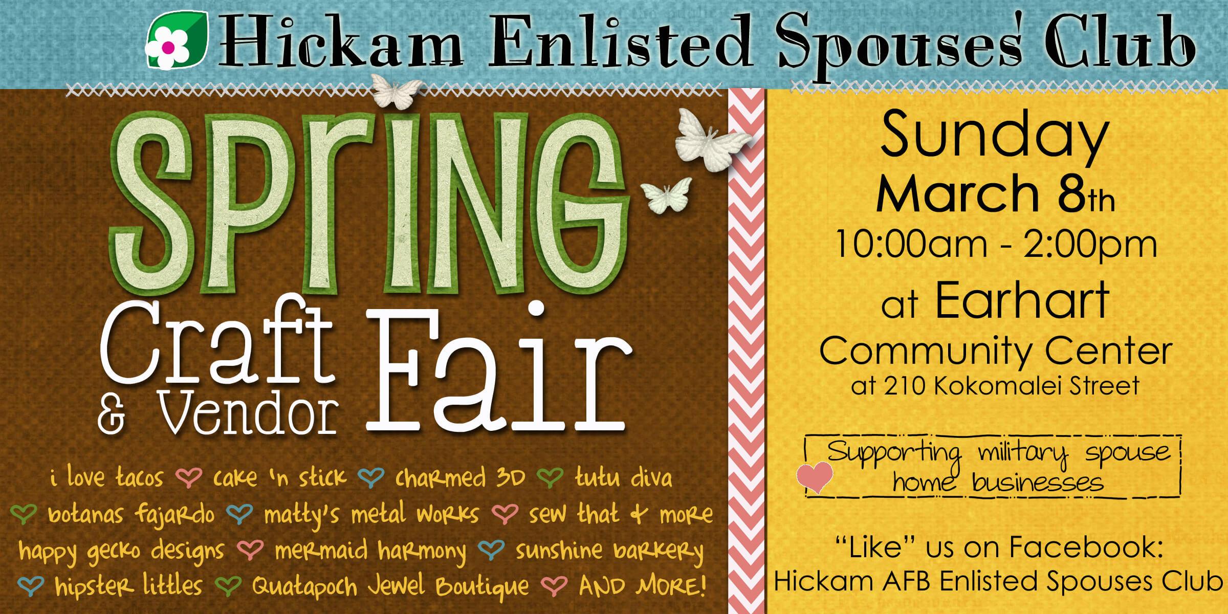 hickam enlisted spouses club spring craft  u0026 vendor fair